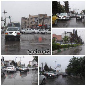 بسته شدن خیابان های ایذه در ترافیک روز بارانی