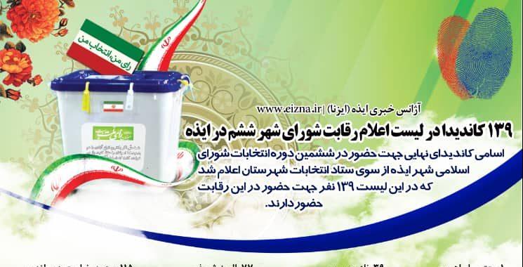 لیست کاندیدای ششمین دوره شورای اسلامی شهر ایذه